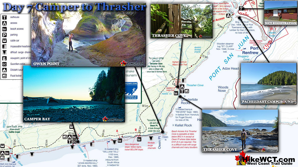 Day 7 West Coast Trail Camper to Thrasher Map