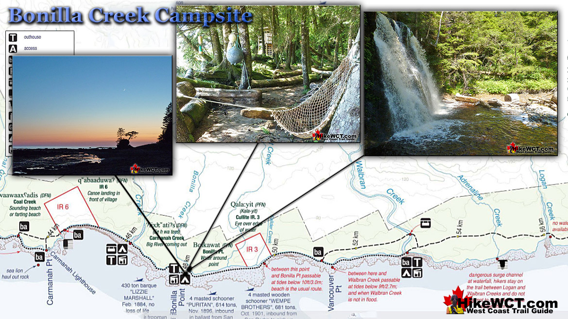 Bonilla Creek Campsite Map on the West Coast Trail