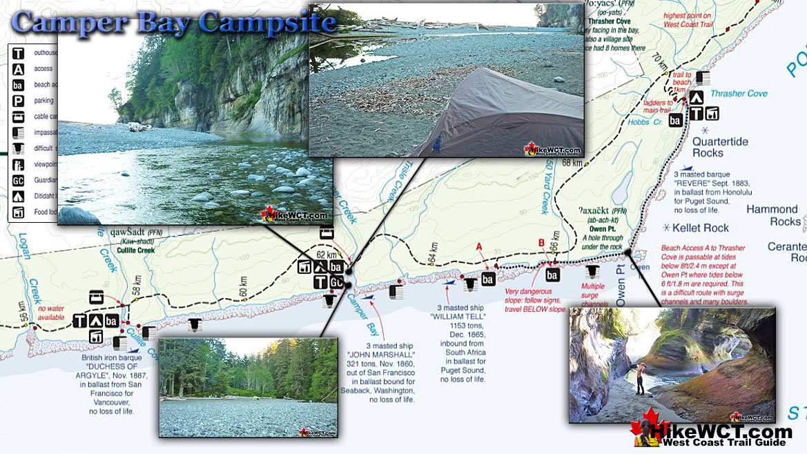 Camper Bay Campsite Map West Coast Trail