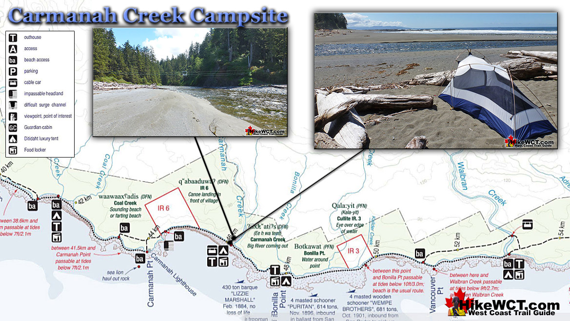 Carmanah Creek Campsite Map