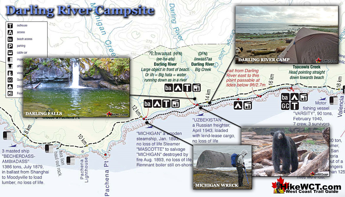 Darling River Campsite Map - West Coast Trail