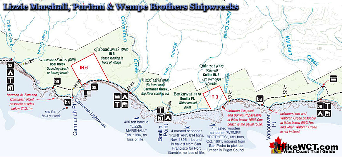 Shipwrecks Map Lizzie to Wempe West Coast Trail