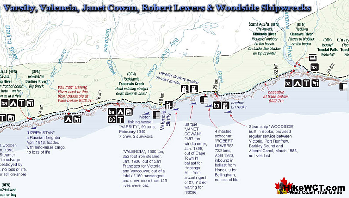 Varsity to Woodside Shipwrecks Map