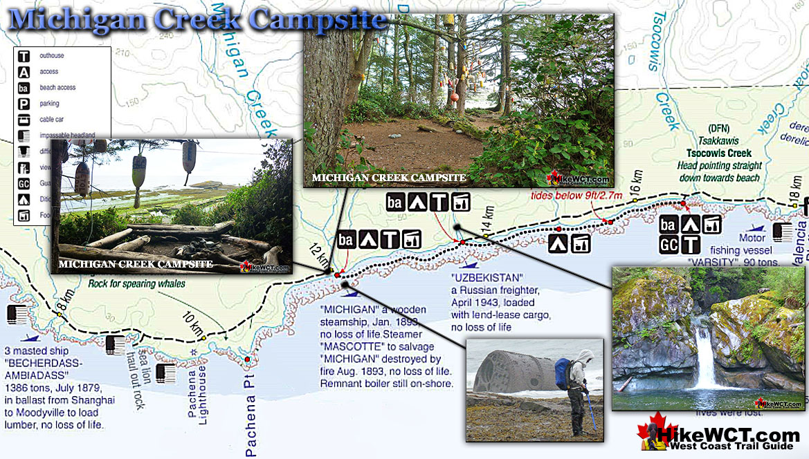 Michigan Creek Campsite Map West Coast Trail