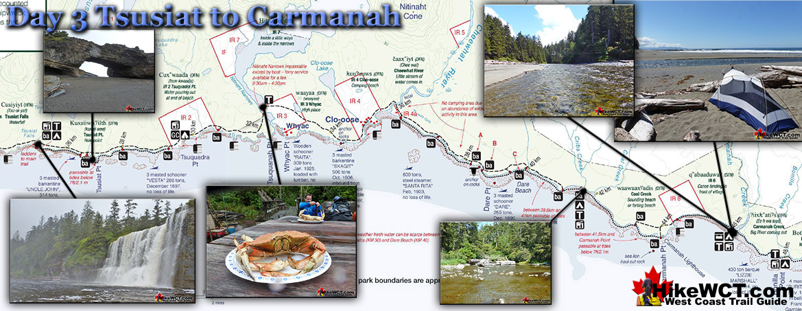 Day 3 Tsusiat to Carmanah Map