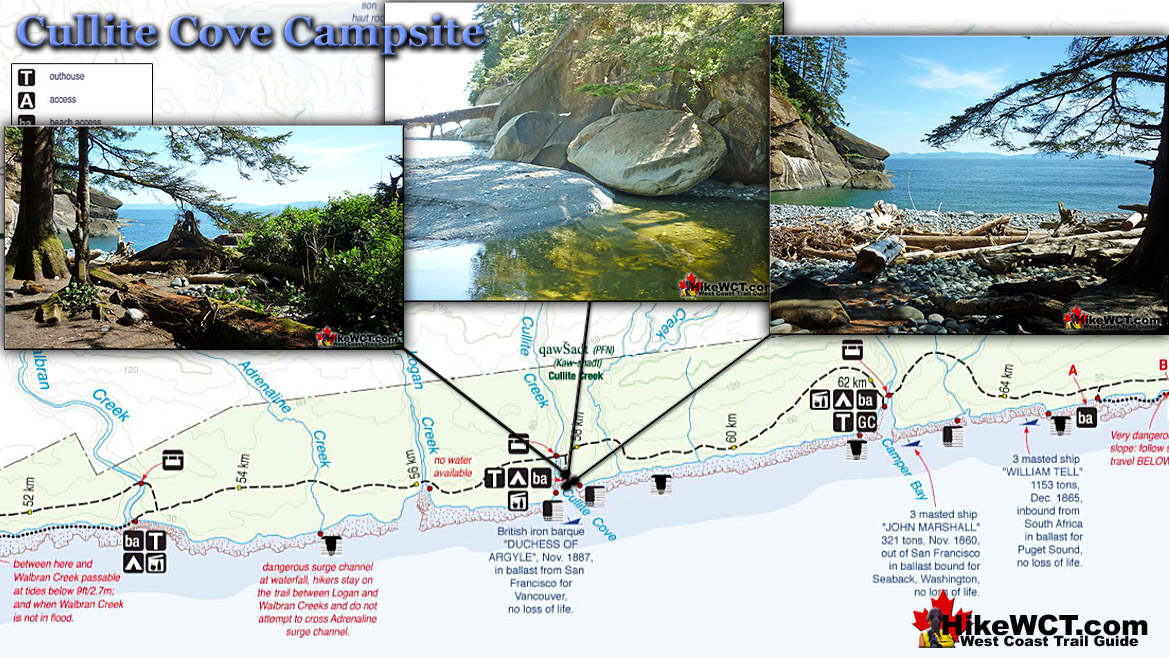 Cullite Cove Campsite Map on the West Coast Trail