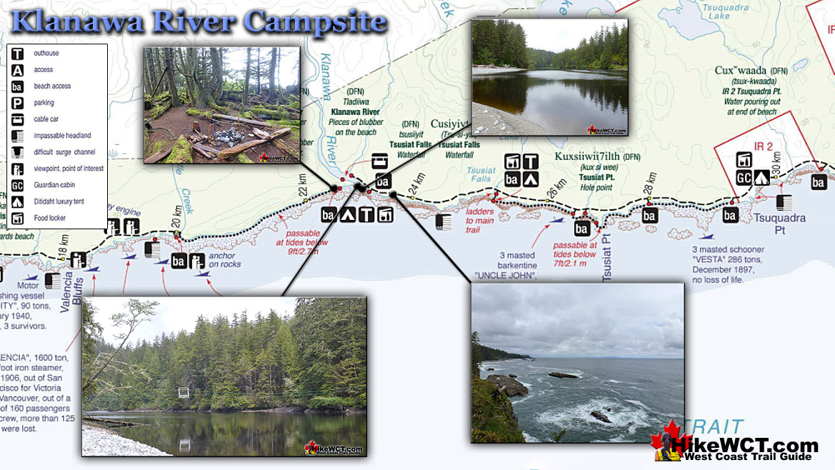 Klanawa River Campsite Map - West Coast Trail