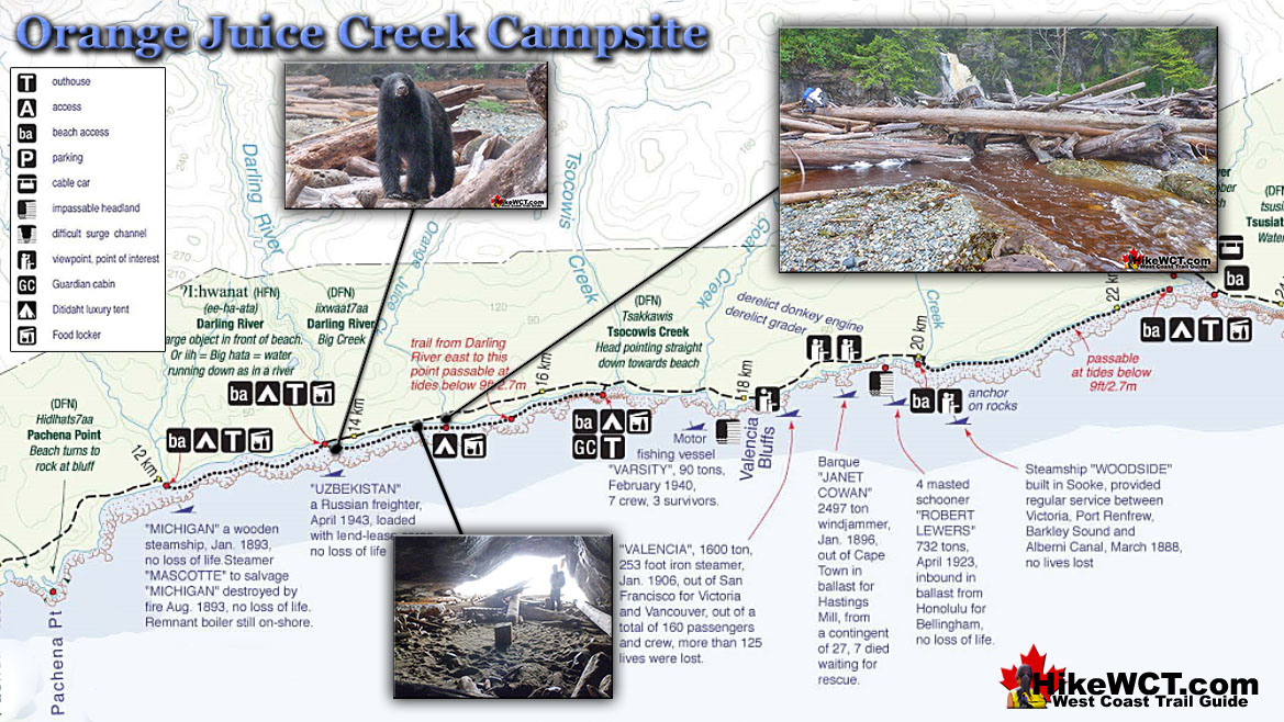 Orange Juice Creek Campsite Map - West Coast Trail