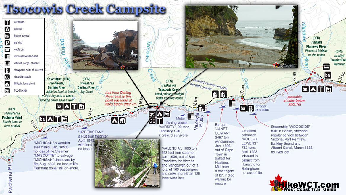 Tsocowis Campsite Map - West Coast Trail Campsites