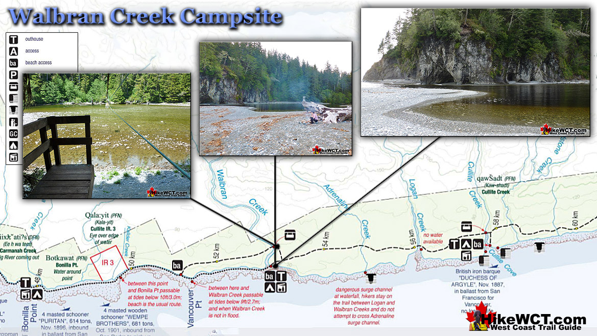 Walbran Creek Campsite Map - West Coast Trail